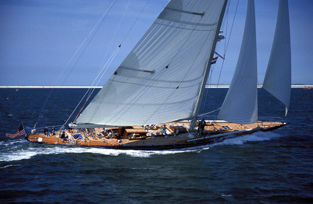 teak decking systems j class yacht in the water