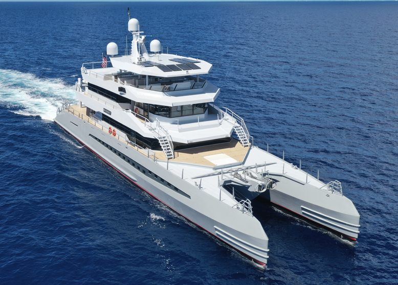 aerial Metal Shark yacht with composite decking or synthetic decking from teak decking systems