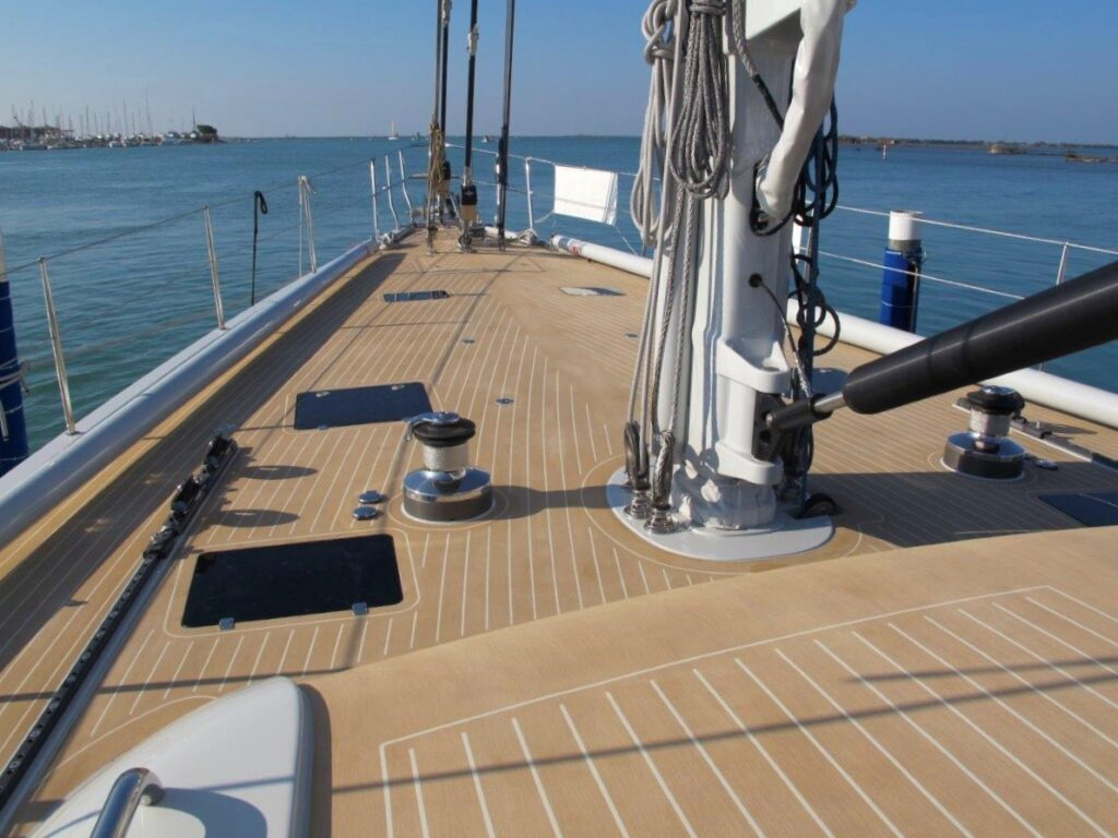 composite decking with teak look using esthec synthetic decking by teak decking systesm