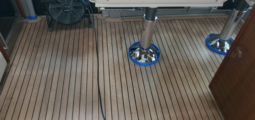 teak decking systems sanding or sand out